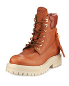 Lace-Up Leather Site Boot, Whiskey