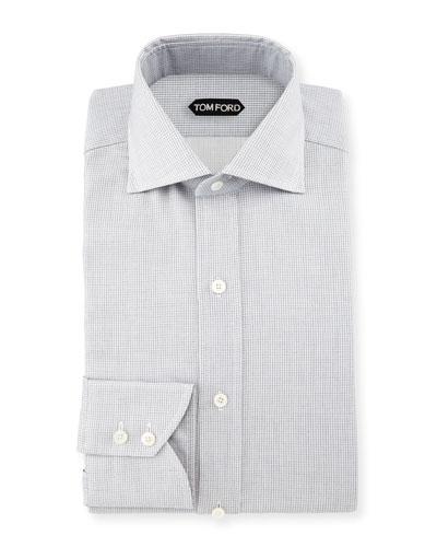Tiny-Dot Stripe Slim-Fit Shirt, White/Black
