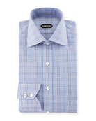 Bicolor Subtle Overcheck Slim-Fit Shirt, Blue