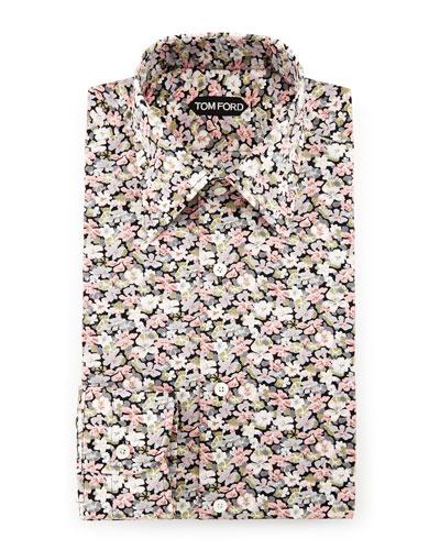 Hydrangea Prairie-Floral Slim-Fit Shirt, Pink
