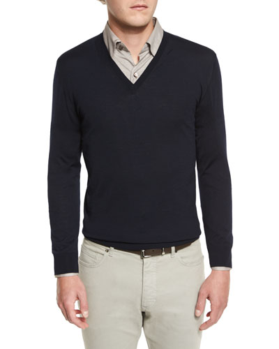 High-Performance Merino Wool V-Neck Sweater, Navy