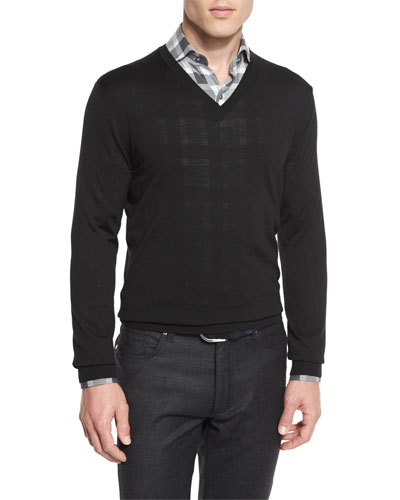 High-Performance Merino Wool V-Neck Sweater, Black