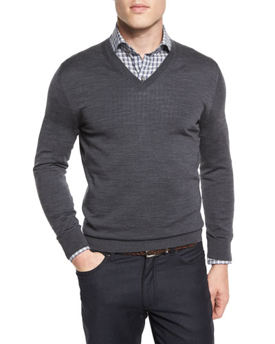 High-Performance Merino Wool V-Neck Sweater, Gray
