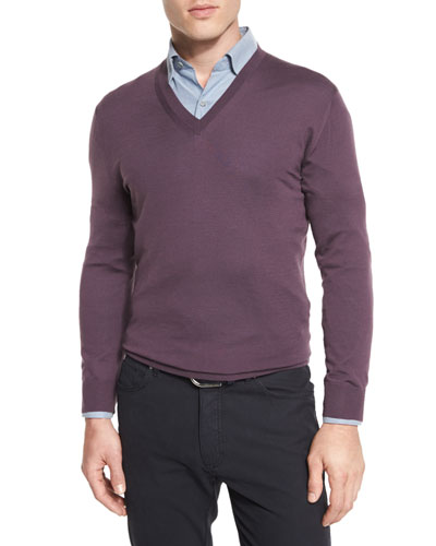 High-Performance Merino Wool V-Neck Sweater, Lavender