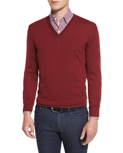 High-Performance Merino Wool V-Neck Sweater, Red