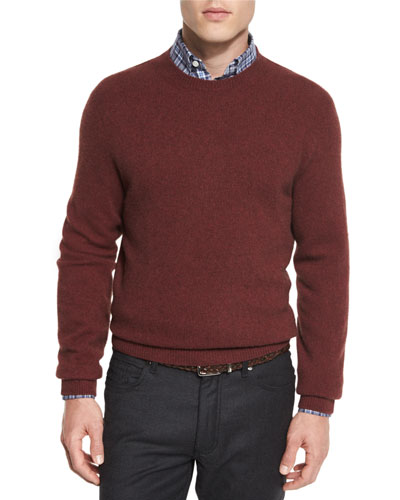 Seamless Yak Crewneck Sweater, Red
