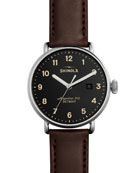 43mm Canfield Leather Strap Watch, Red