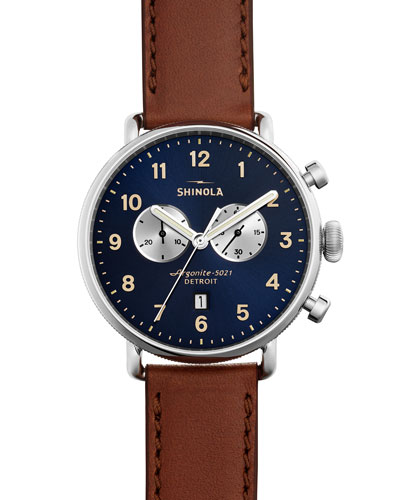 43mm Canfield Chronograph Watch, Brown