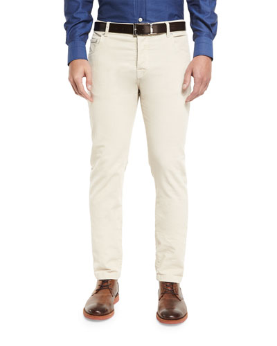 Washed Corduroy Five-Pocket Pants, Winter White