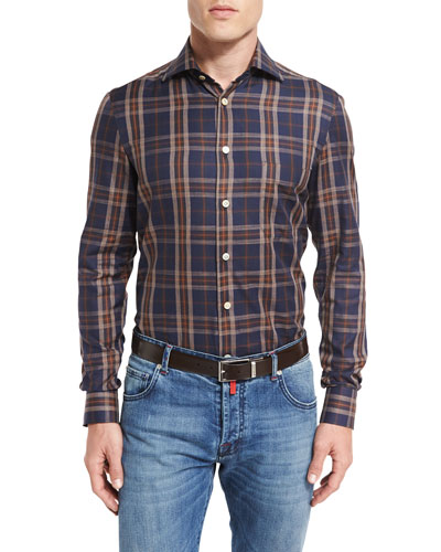 Exploded Plaid Oxford Shirt, Navy/Brown
