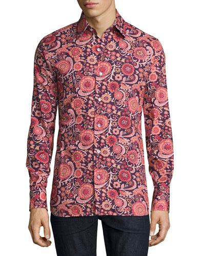 70s Floral-Print Shirt, Purple/Pink