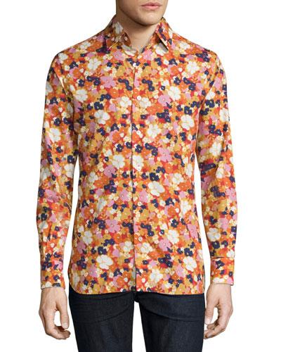 Floral-Print Woven Shirt, White Floral