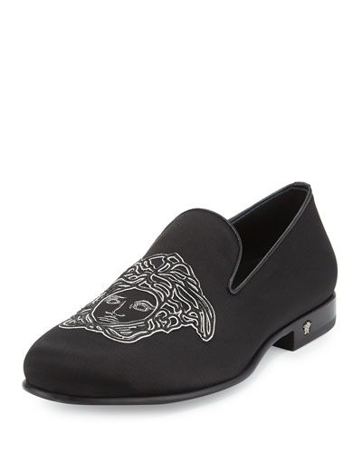 Medusa Satin Evening Slipper, Black
