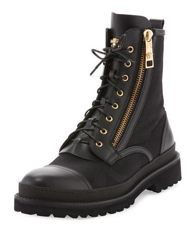 Small Medusa Leather & Jacquard Combat Boot, Black