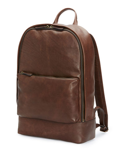 Chris Calf Leather Backpack, Chocolate