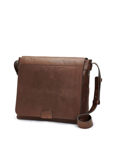 Chris Calf Leather Messenger Bag, Chocolate