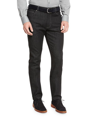 Five-Pocket Stretch-Denim Jeans, Black