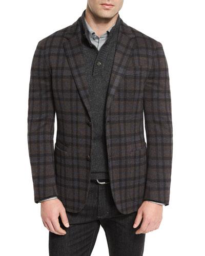 Wool Plaid Blazer, Blue Pattern