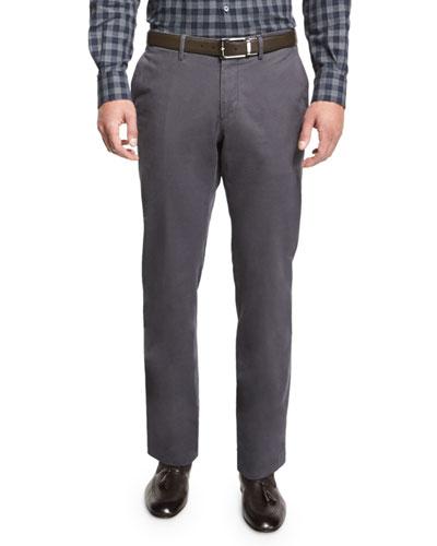 Five-Pocket Stretch-Cotton Pants, Light Gray