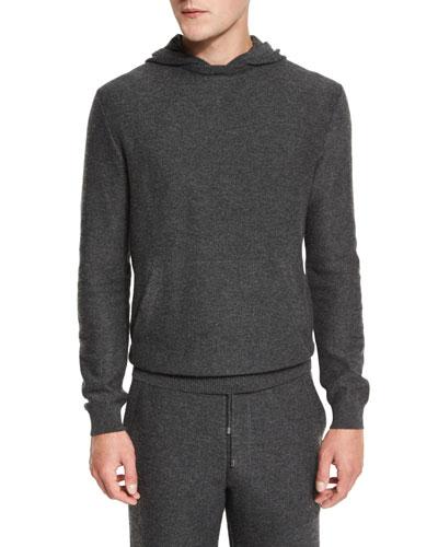 Premium Cashmere Hoodie Sweater, Gray