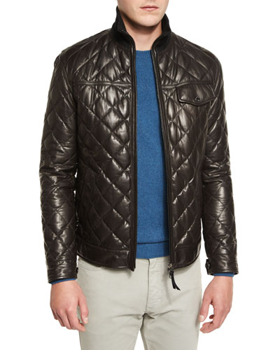 Quilted Leather Down Jacket, Chocolate