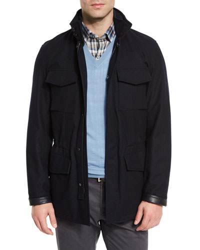 Elements Trofeo Wool/Cashmere Safari Jacket, Navy