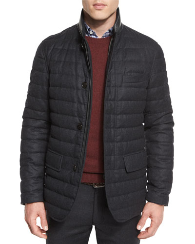 Flannel Wool Channel-Quilted Down Jacket