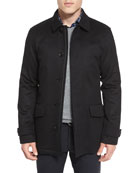 Wool/Cashmere-Blend Car Coat, Black