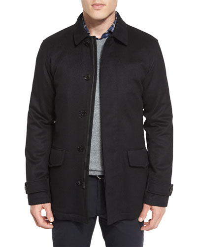 Wool/Cashmere-Blend Car Coat, Black