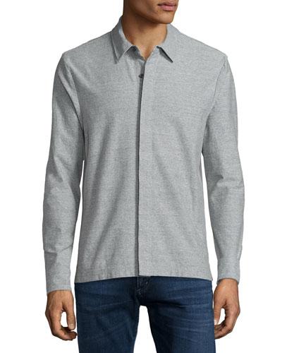 Heathered Stretch-Jersey Shirt, Gray