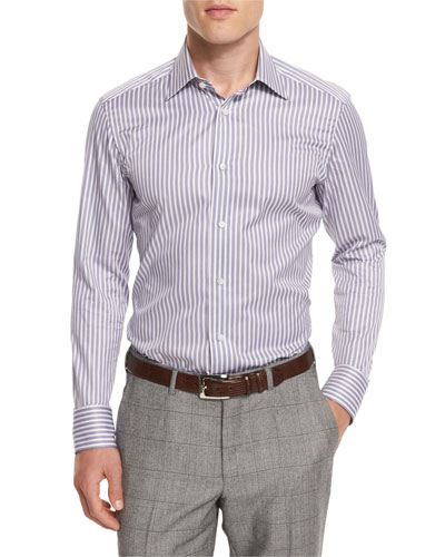 Bold-Striped Long-Sleeve Sport Shirt