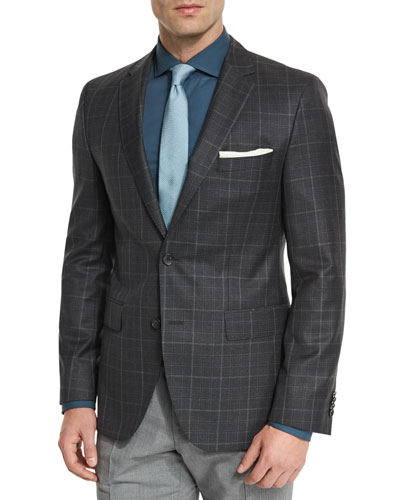 Jeen Plaid Two-Button Wool Sport Coat, Charcoal