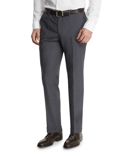 Genesis Slim-Fit Wool Trousers, Gray