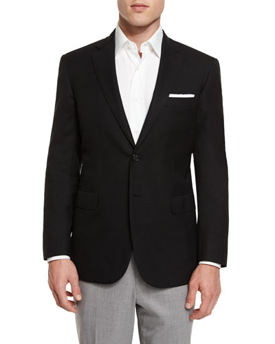 Twill Two-Button Blazer, Black