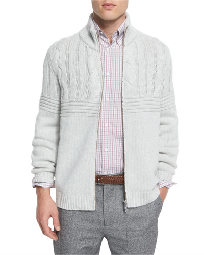 Cashmere Cable-Knit Front-Zip Cardigan, Fog