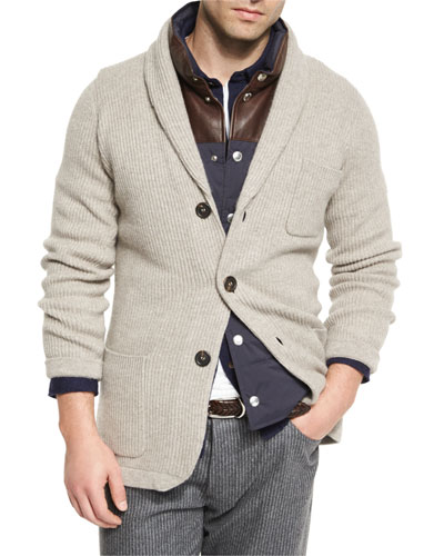 Ribbed Cashmere Blazer-Style Cardigan, Brown