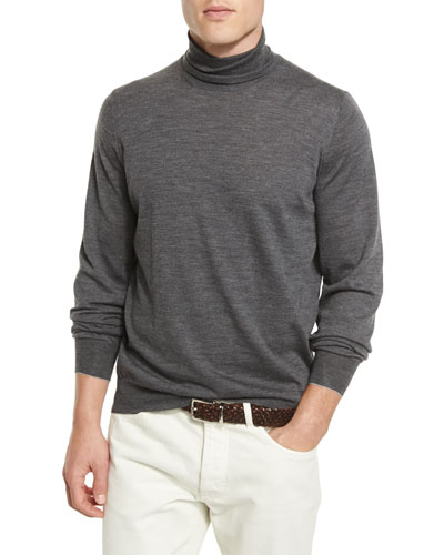 Fine-Gauge Turtleneck Sweater, Lead FG