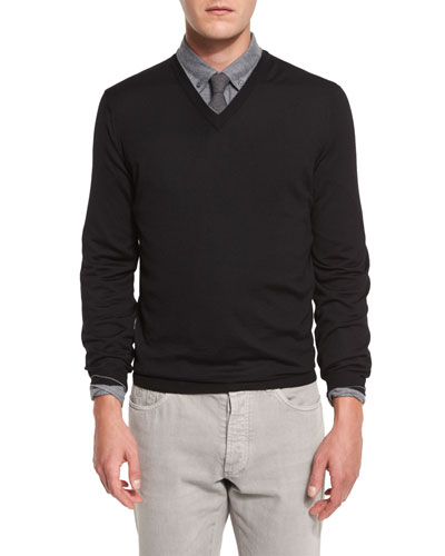 Fine-Gauge V-Neck Sweater, Black