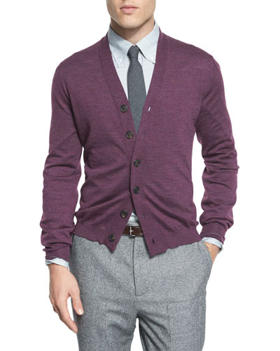 Fine-Gauge Wool-Blend Button Cardigan, Maroon