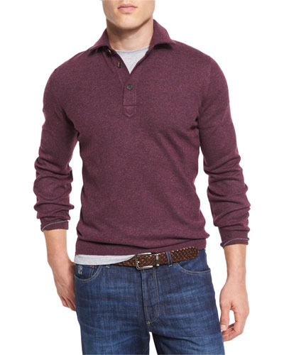 Solomeo Wool-Blend Polo Sweater, Maroon