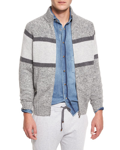Colorblock Donegal Front-Zip Cardigan, Gray