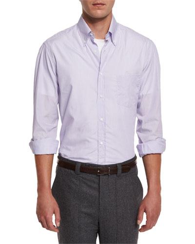 Micro-Stripe Long-Sleeve Sport Shirt, Purple