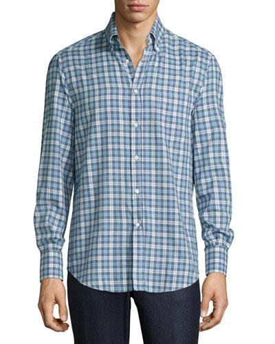 Twill Madras Plaid Oxford Shirt, Blue