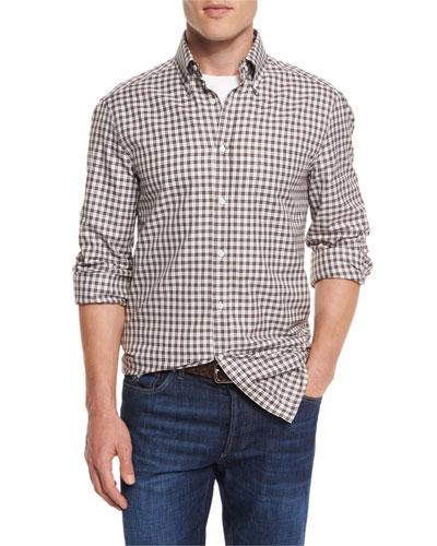 Panama Check Long-Sleeve Sport Shirt, Brown