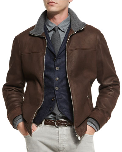 Leather Pilot Jacket w/Cashmere Trim, Dark Brown