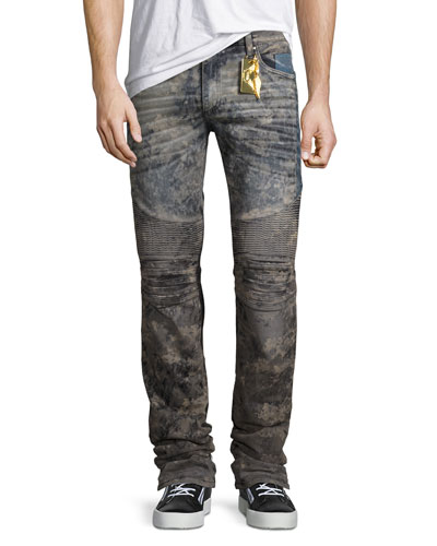 Flap-Pocket Slim-Fit Biker Jeans, Gray