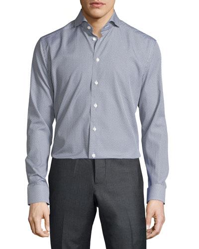 Swan-Print Long-Sleeve Sport Shirt, Black