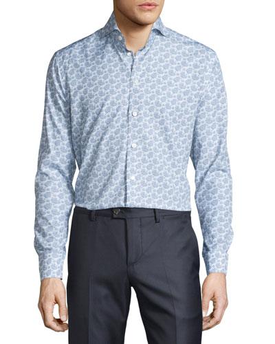 Paisley & Dot Long-Sleeve Sport Shirt, Blue