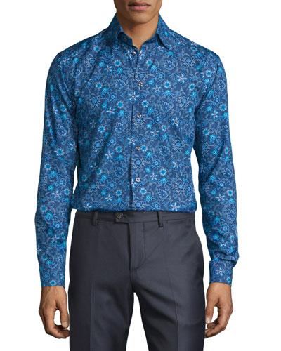 Floral-Print Sport Shirt, Blue