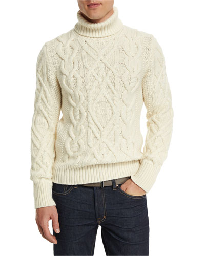 Aran Cable-Knit Fisherman Turtleneck Sweater, Ivory